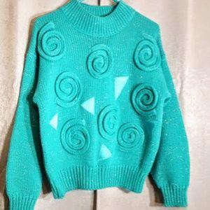 Vintage Cristina Turquoise Sweater 80's sz M